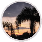 Sunset Through The Palms Round Beach Towel
