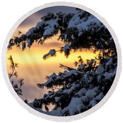 Sunset Through The Snowy Branches Round Beach Towel