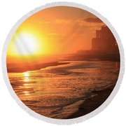Sunset Towers Round Beach Towel