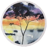 Sunset Tree Koh Chang Thailand Round Beach Towel