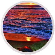 Sunset Turtle By Diana Sainz Round Beach Towel