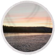 Sunset Twilight Over Taiga At Yukon River Canada Round Beach Towel