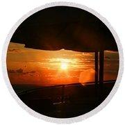 Sunset Under The Umbrella By Diana Sainz Round Beach Towel