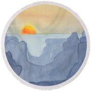 Sunset Valley Round Beach Towel