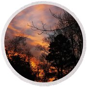 Sunset View From The Path Round Beach Towel