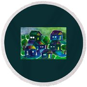 Sunset Village Watercolor Round Beach Towel