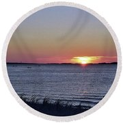 Sunset Walk Along The Beach Round Beach Towel