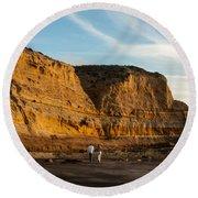 Sunset Walk At Flat Rock  La Jolla California Round Beach Towel