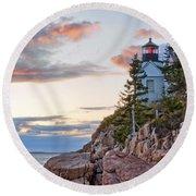 Sunset Watcher - Bass Harbor Head - Maine Round Beach Towel
