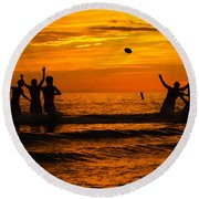 Sunset Water Football Round Beach Towel