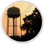 Sunset Water Tower Round Beach Towel