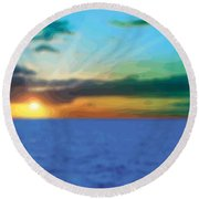 Sunset Waters Round Beach Towel