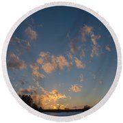 Sunset Winter Lanscape Round Beach Towel