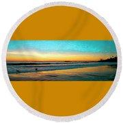 Sunset With Birds Round Beach Towel