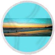 Sunset With Birds Round Beach Towel by Ben and Raisa Gertsberg