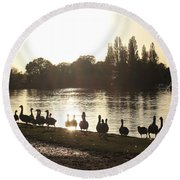 Sunset With Geese On The Thames Round Beach Towel