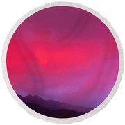Sunset With Lightning And Rainbow Four Round Beach Towel