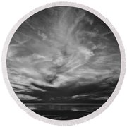 Sunset With No Color Round Beach Towel