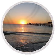 Fishingpier Sunset Round Beach Towel