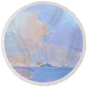 Sunset With Rain Round Beach Towel