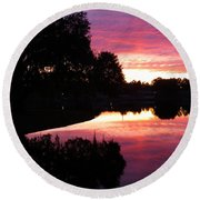 Sunset With Reflection Round Beach Towel