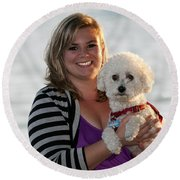 Sunset With Young American Woman And Poodle Round Beach Towel