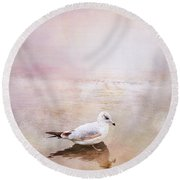 Sunset With Young Seagull Round Beach Towel