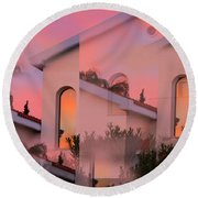 Sunsets On Houses Round Beach Towel