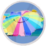 Sunshine And  Rainbows Round Beach Towel