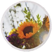 Sunshine And Sunflowers Round Beach Towel