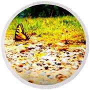 Sunshine Butterfly Round Beach Towel