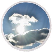 Sunshine Clouds Round Beach Towel
