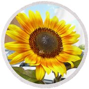 Sunshine In Country Farm Round Beach Towel