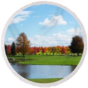 Sunshine On A Country Estate Round Beach Towel
