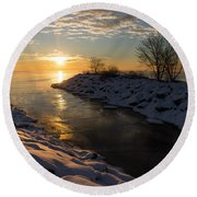 Sunshine On The Ice - Lake Ontario Toronto Canada Round Beach Towel
