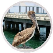 Sunshine Skyway And Pelican Round Beach Towel
