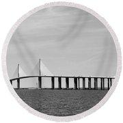 Sunshine Skyway Bridge Bw II Tampa Bay Florida Usa Round Beach Towel