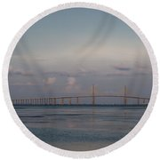 Sunshine Skyway Bridge Round Beach Towel by Steven Sparks