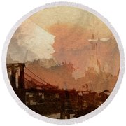 Sunsrise Over Brooklyn Bridge Round Beach Towel