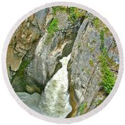 Sunwapta Falls Along  Icefields Parkway In Alberta Round Beach Towel