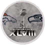 Super Bowl Xlvlll Round Beach Towel