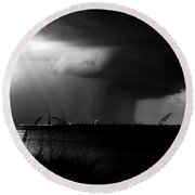 Super Cell Over Tampa Bay Round Beach Towel