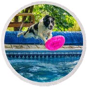 Super Dog 2 Round Beach Towel