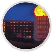 Super Moon In Halifax Nova Scotia Round Beach Towel
