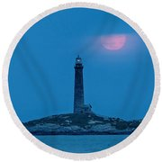 Super Moon Over Thacher Twin Lights Round Beach Towel