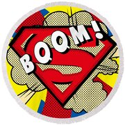 Superman Boom  Round Beach Towel