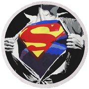 Superman Round Beach Towel by Erik Pinto