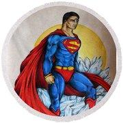 Superman Lives On Round Beach Towel
