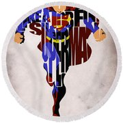 Superman - Man Of Steel Round Beach Towel by Ayse Deniz