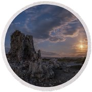 Supermoon At Mono Lake Round Beach Towel